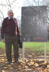 Henryk Zvi Frank next to his photo panel in the'park adjoining the I.G. Farben Building, 2008'© Jessica Schäfer