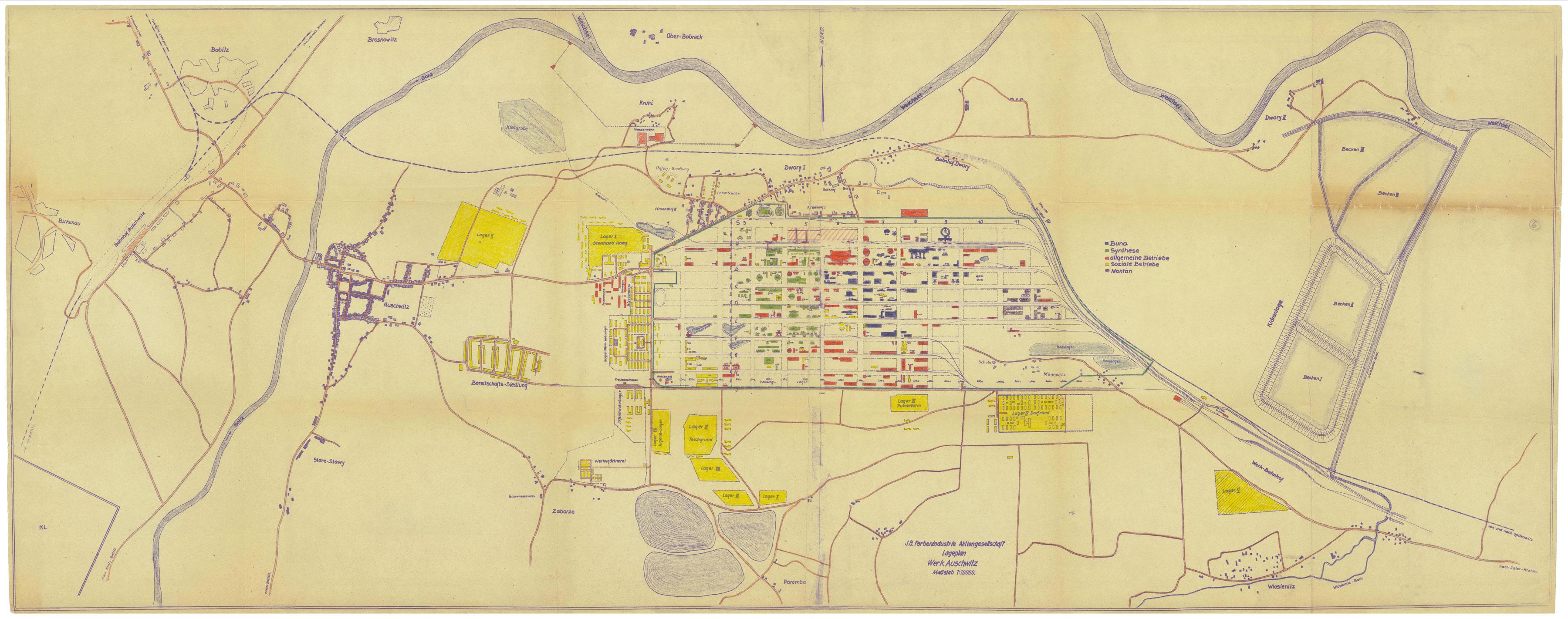 site plan for auschwitzmonowitz. wollheim memorial