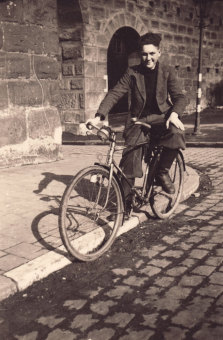 Albert Kimmelstiel with his bicycle, Nuremberg, 1941