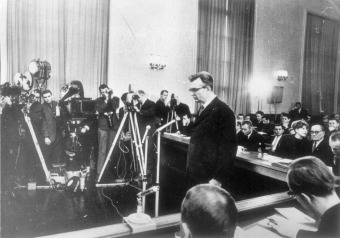 Horst Fischer, the SS camp doctor at the Buna/Monowitz concentration camp, during his trial (March 10–25, 1966) in the courtroom of the Supreme Court of the GDR in Berlin, 1966