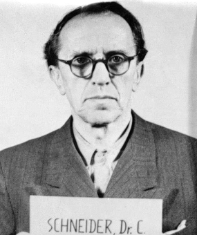 Christian Schneider. Photo from the National Archives, Collection of World War II Crimes Records of the I.G. Farben Trial in Nuremberg'© National Archives, Washington, DC
