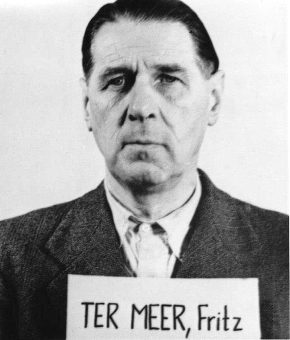 Fritz (Friedrich Hermann) ter Meer. Photo from the National Archives, Collection of World War II Crimes Records of the I.G. Farben Trial in Nuremberg'© National Archives, Washington, DC