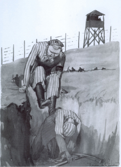 A Kapo punishes a fellow inmate'© Maurice de la Pintière papers