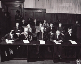 Thirteen of the 24 defendants in the I.G. Farben Trial in Nuremberg, June 2, 1947