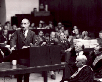 Walther Dürrfeld during his closing statement in the I.G. Farben Trial in Nuremberg, 1948