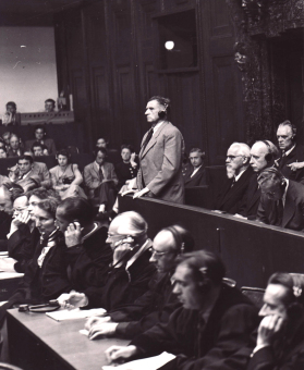 Carl Krauch (standing) during the pronouncement of the judgement in the I.G. Farben Trial in Nuremberg, July 29/30, 1948