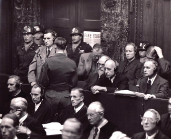 Dock in the I.G. Farben Trial in Nuremberg (1947/48), during examination of Carl Krauch