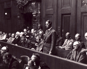 Fritz ter Meer (standing) during the pronouncement of the judgement in the I.G. Farben Trial in Nuremberg, July 29/30, 1948