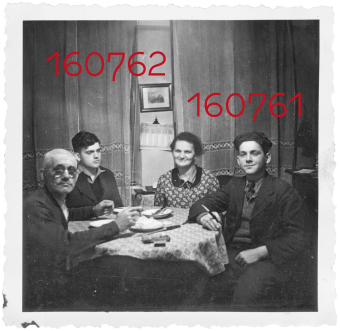 The Kimmelstiel family: Fritz, Max, Karolina, and Albert at the dinner table, Nuremberg, 1941