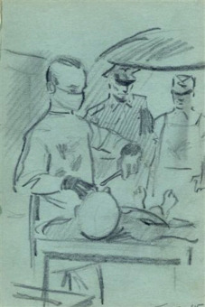 Serge Smulevic: Drawings for the 'prosecution in the I.G. Farben Trial in 'Nuremberg: In the prisoner infirmary 'at the Buna/Monowitz concentration camp'© Serge Smulevic