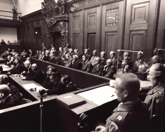Side view of the dock at the I.G. Farben Trial in Nuremberg (1947/48)